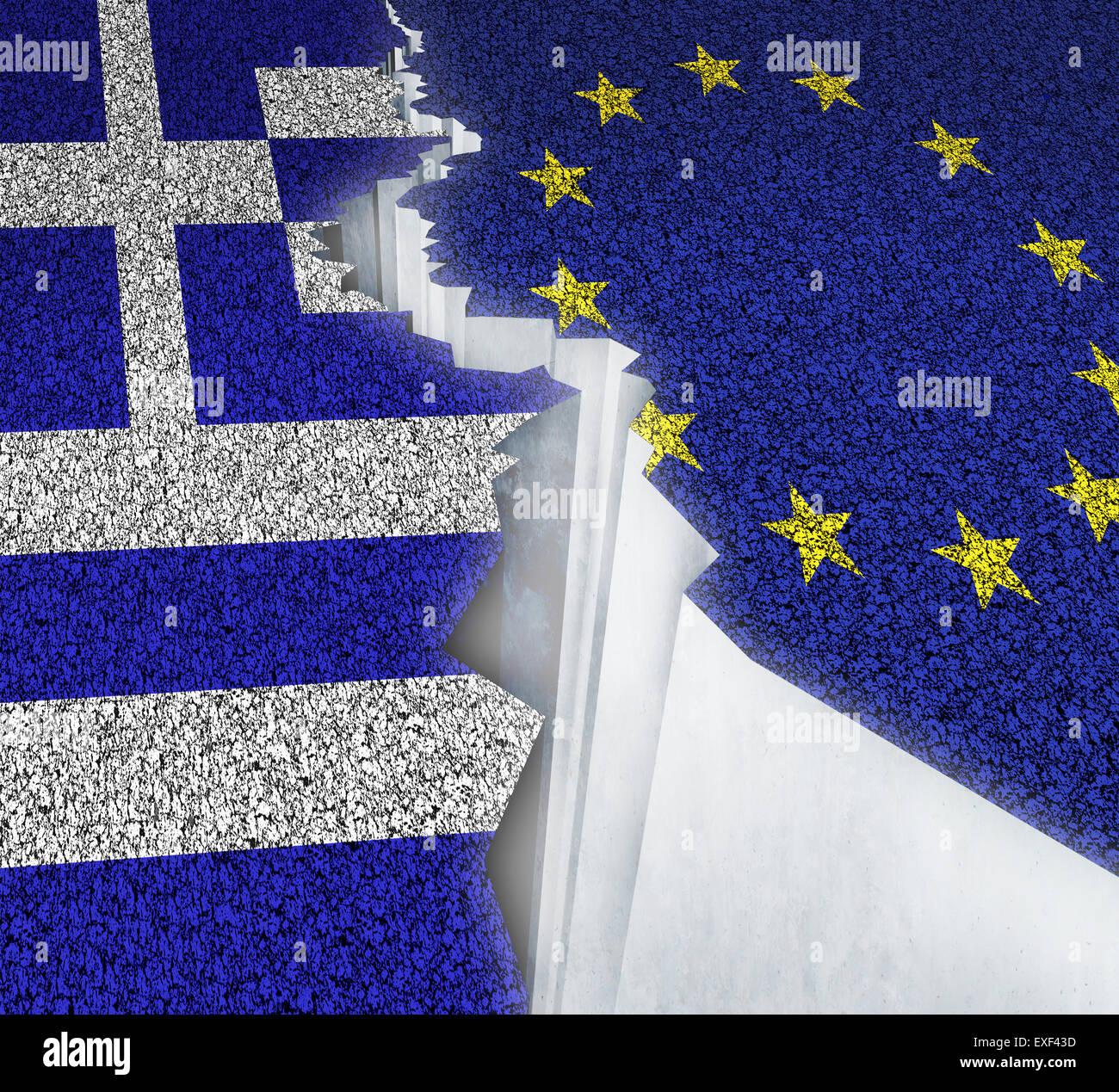 Griechenland Europa scheitern Konzept als eine Aufteilung zu knacken auf einer gebrochenen Straße mit der Europäischen Stockbild