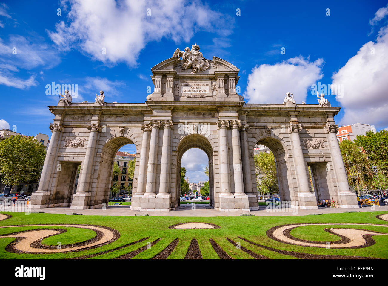Madrid, Spanien am Tor Puerta de Alcala. Stockbild