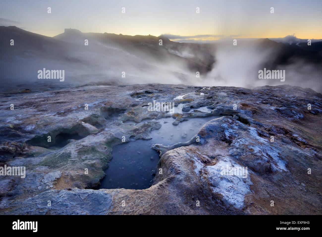 Namafjall geothermische Gebiet, Island Stockbild