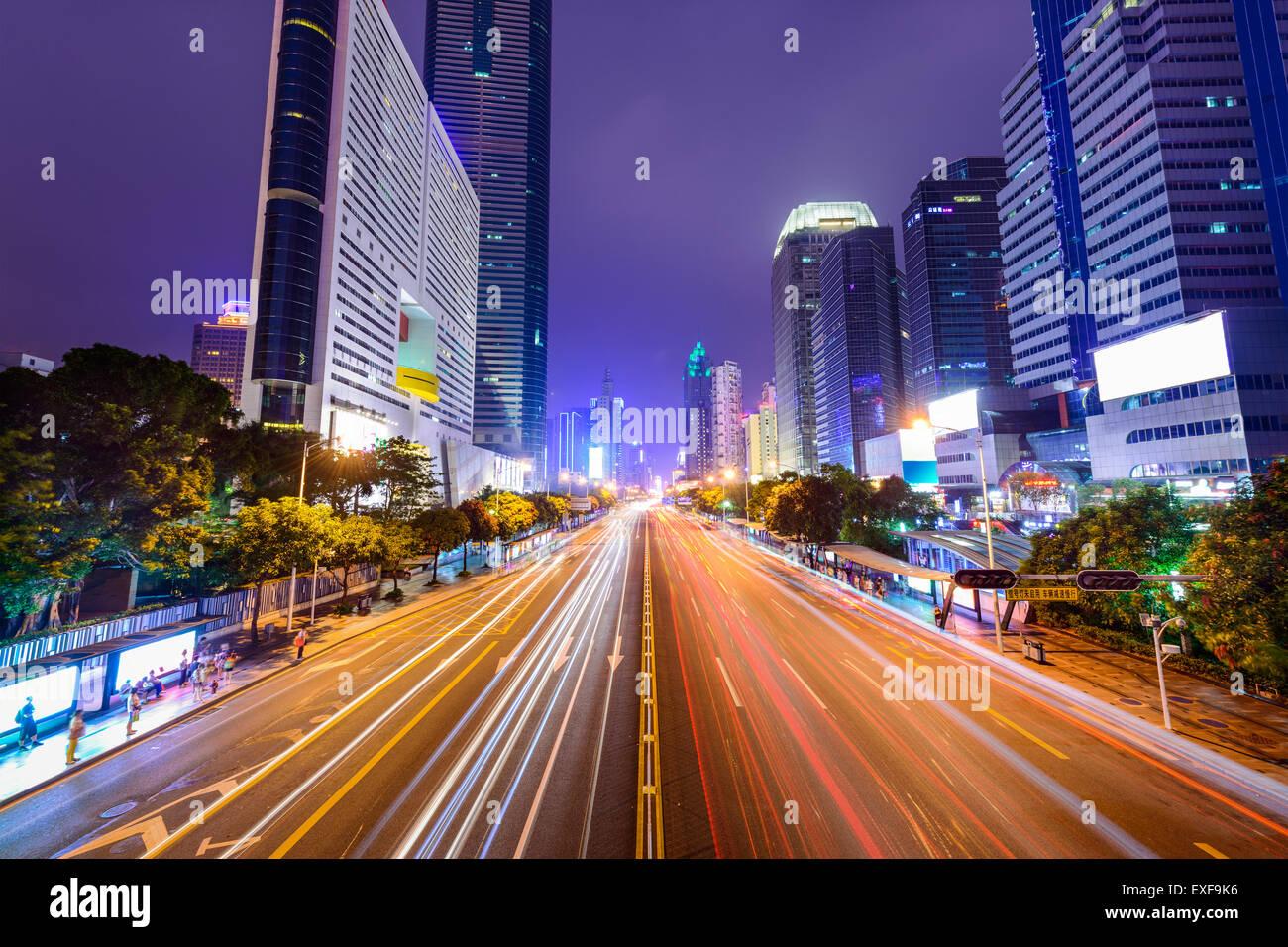 Die Innenstadt von Shenzhen, China Stadtbild. Stockbild