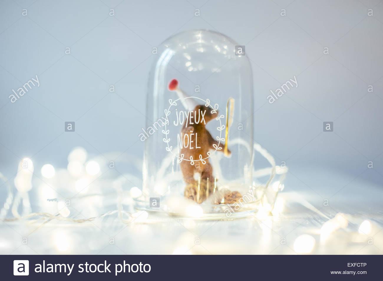 Weihnachts-Dekoration und Beleuchtung Stockbild