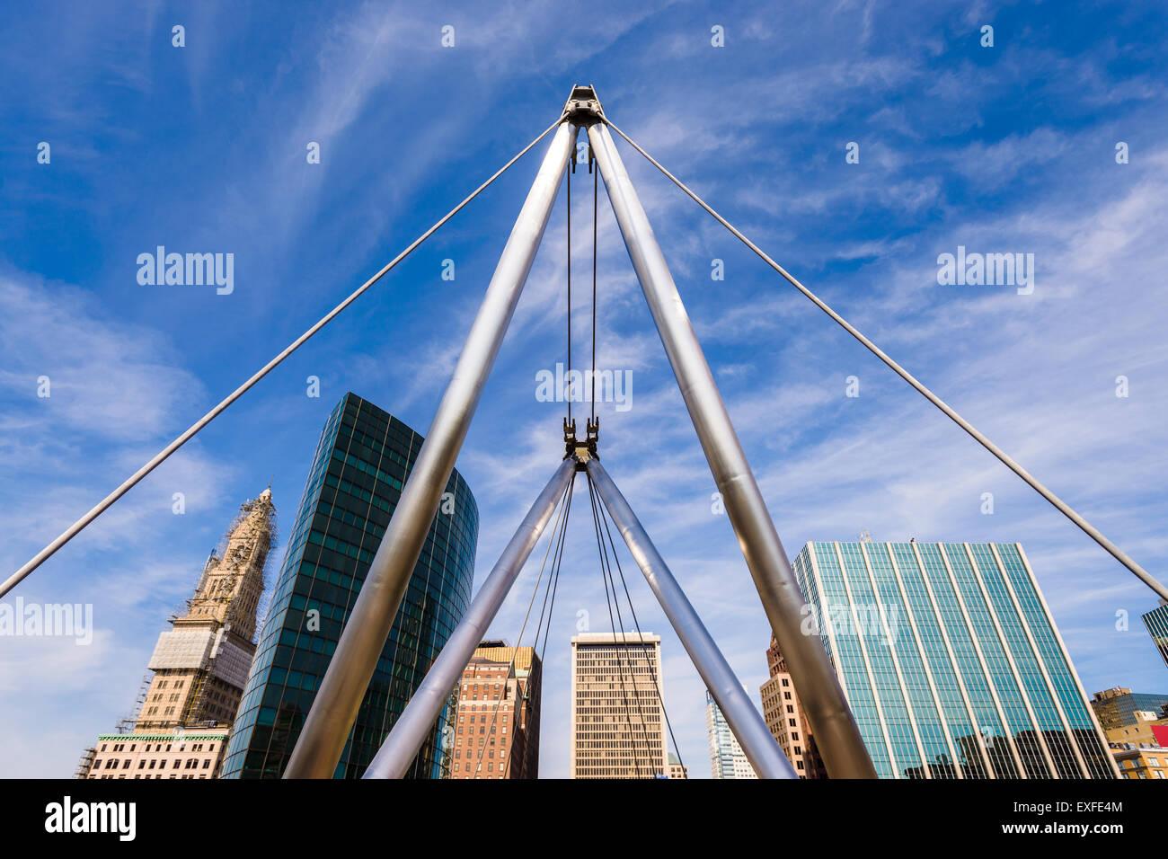 Hartford, Connecticut, USA Stadtbild an Gründer-Brücke. Stockbild
