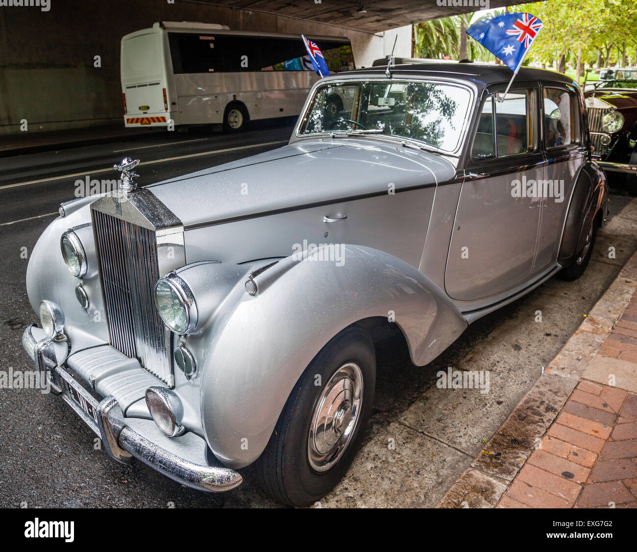 Australien, New South Wales, Sydney, Rolls-Royce Phantom motor Oldtimer, ausgestellt in der Macquarie Street während Stockbild