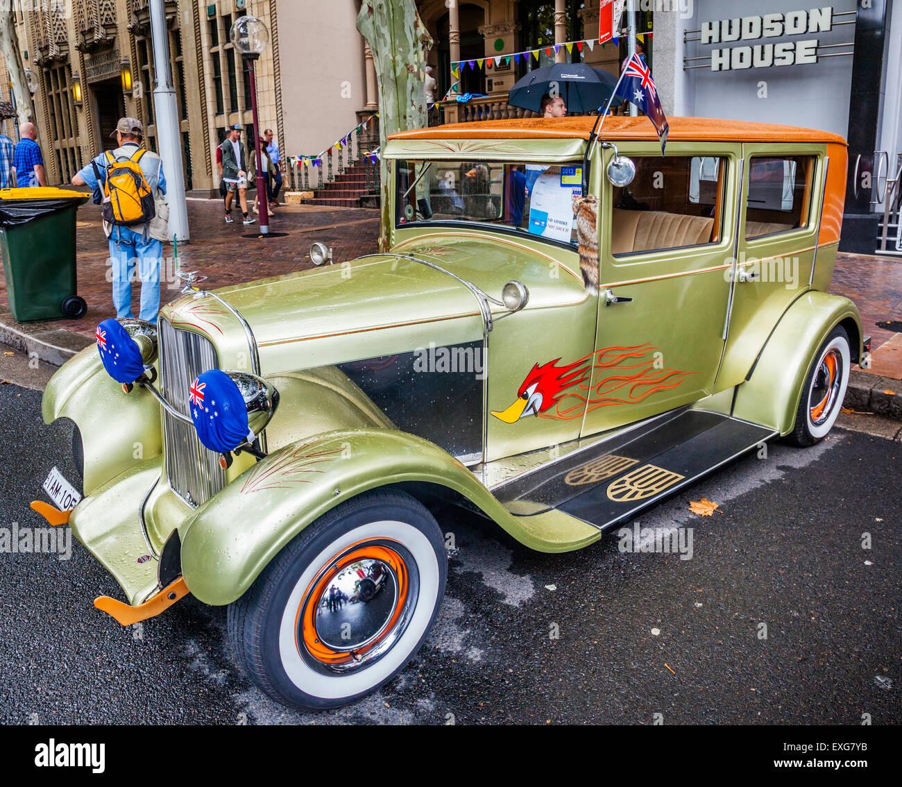 Australien, New South Wales, Sydney, CARnivale, 1928 Essex Super Six 4-türige Limousine motor Oldtimer, ausgestellt Stockbild