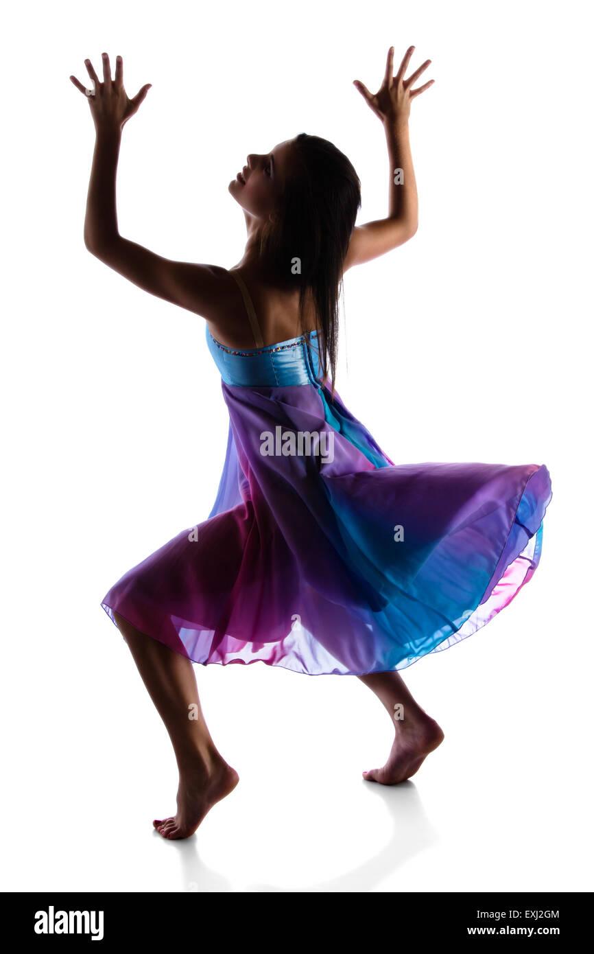 Silhouette einer schönen weiblichen modernen jazz zeitgenössischer ...