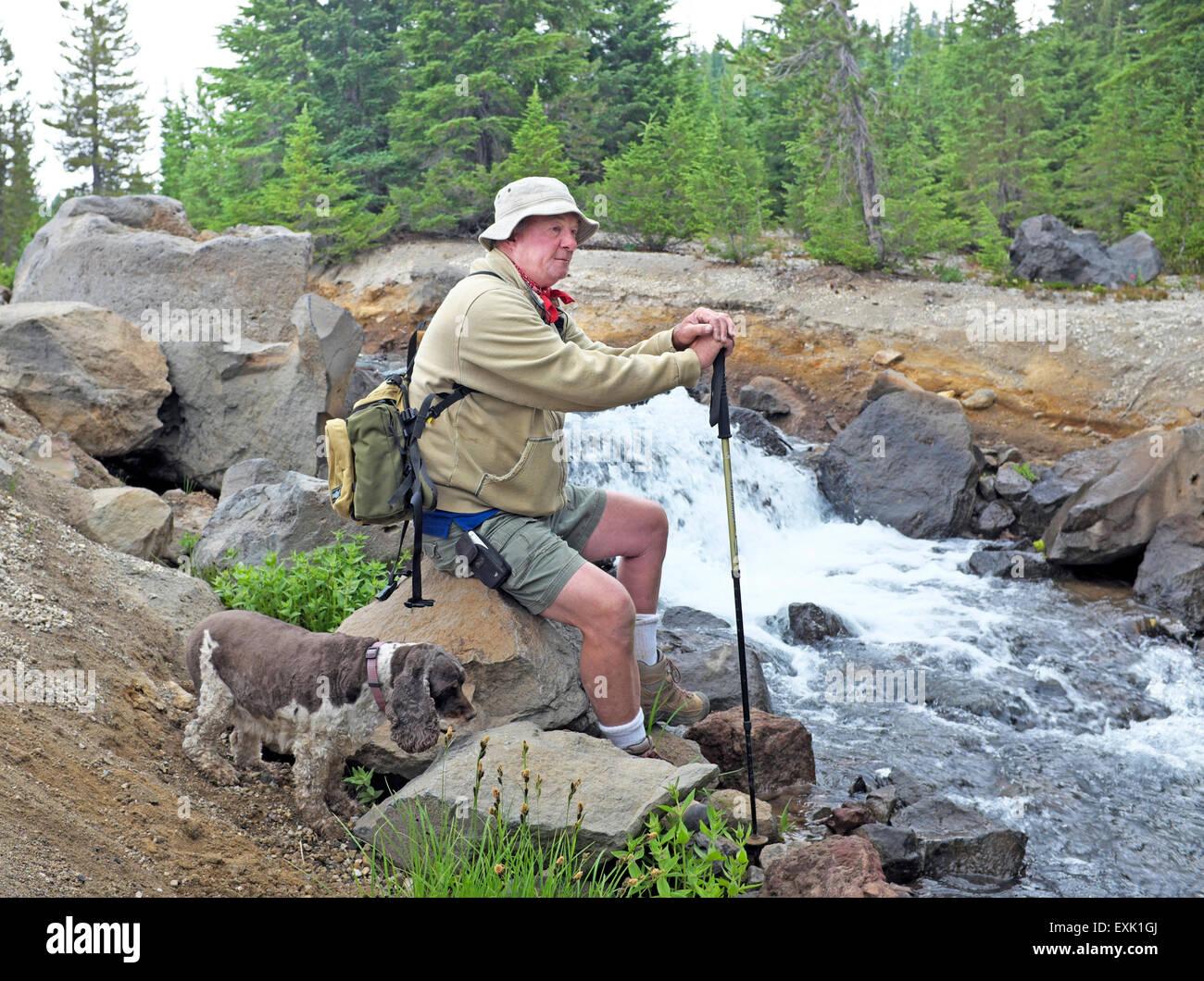 Ein älterer Wanderer und seinem Hund sitzen neben einem Wasserfall in der Oregon-Kaskaden Stockbild