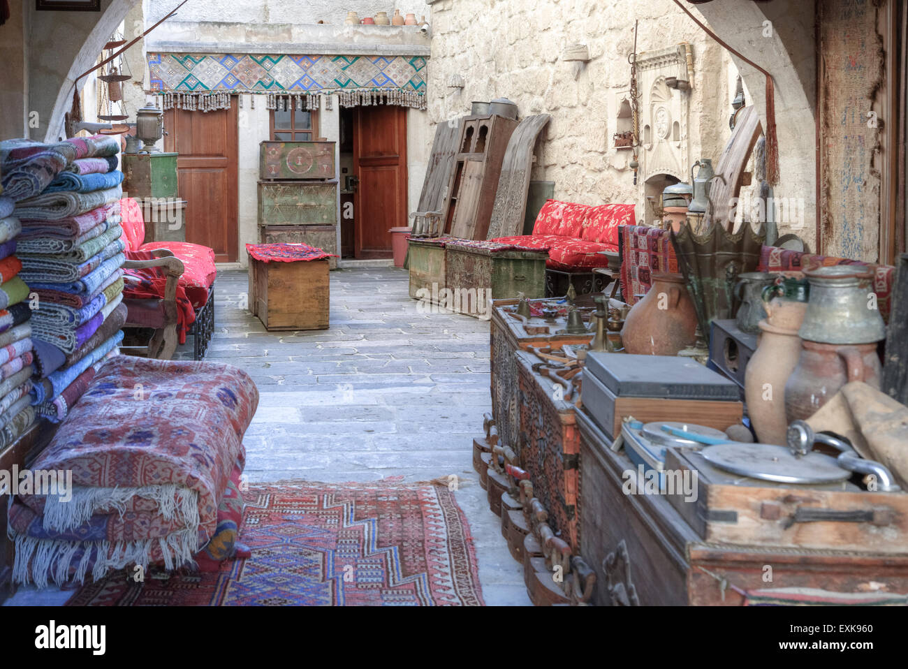 Türkische Teppichgeschäft in Göreme, Kappadokien, Anatolien, Türkei Stockbild