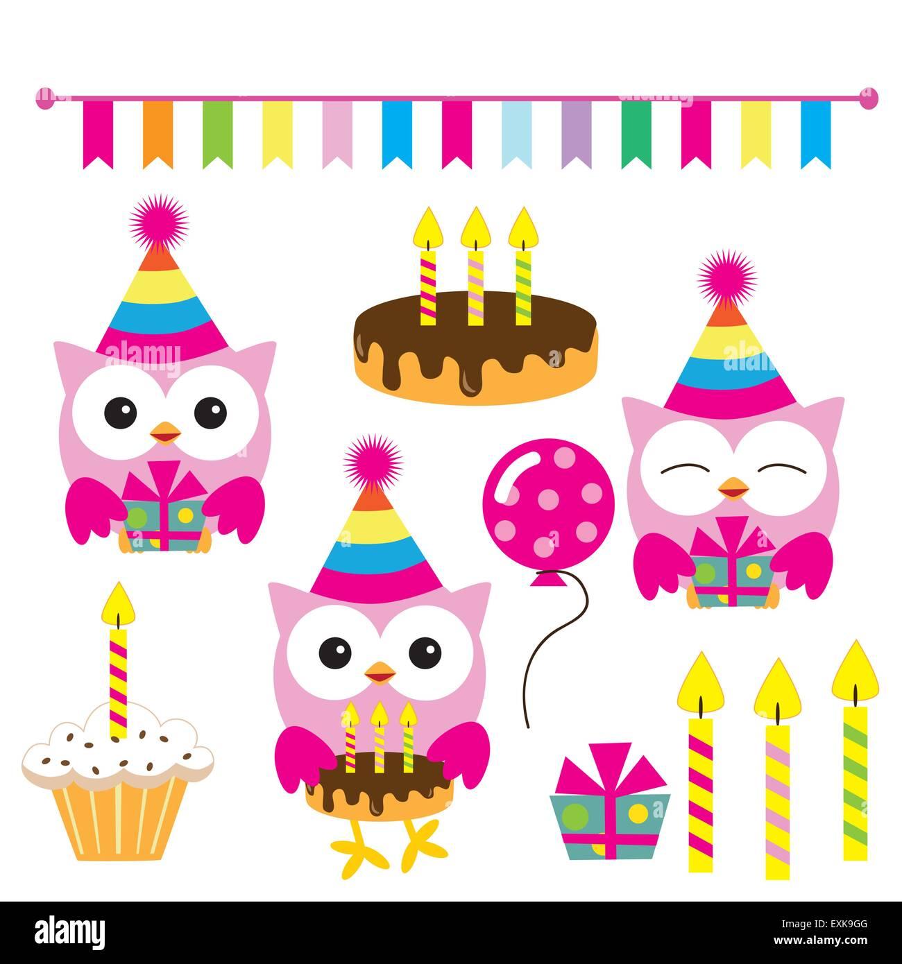 Alles Gute Zum Geburtstag Lustige Eule Cute Eule Vektor Gesetzt