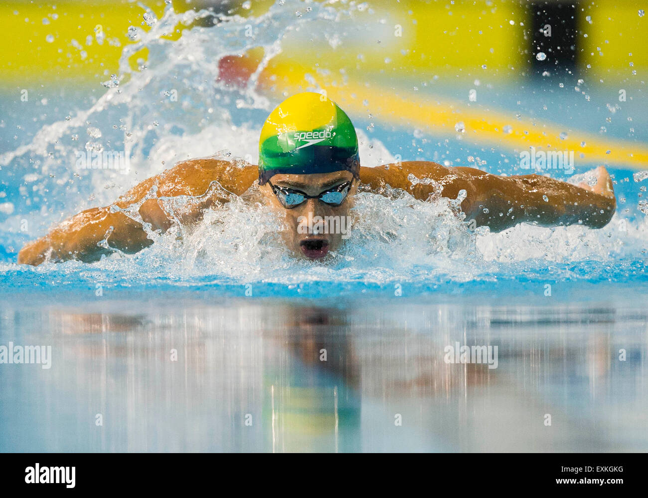Toronto, Kanada. 14. Juli 2015. Leonardo De Deus Brasilien konkurriert die Männer 200m Schmetterling Finale Stockbild