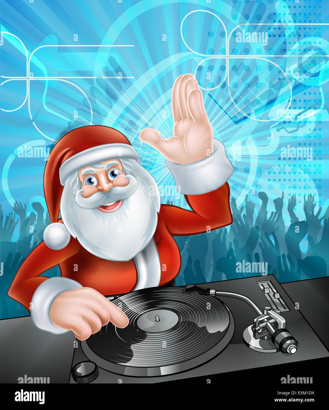 Weihnachtsfeier Cartoon.Weihnachtsmann Cartoon Weihnachtsfeier Dj Mit An Den Rekord Decks