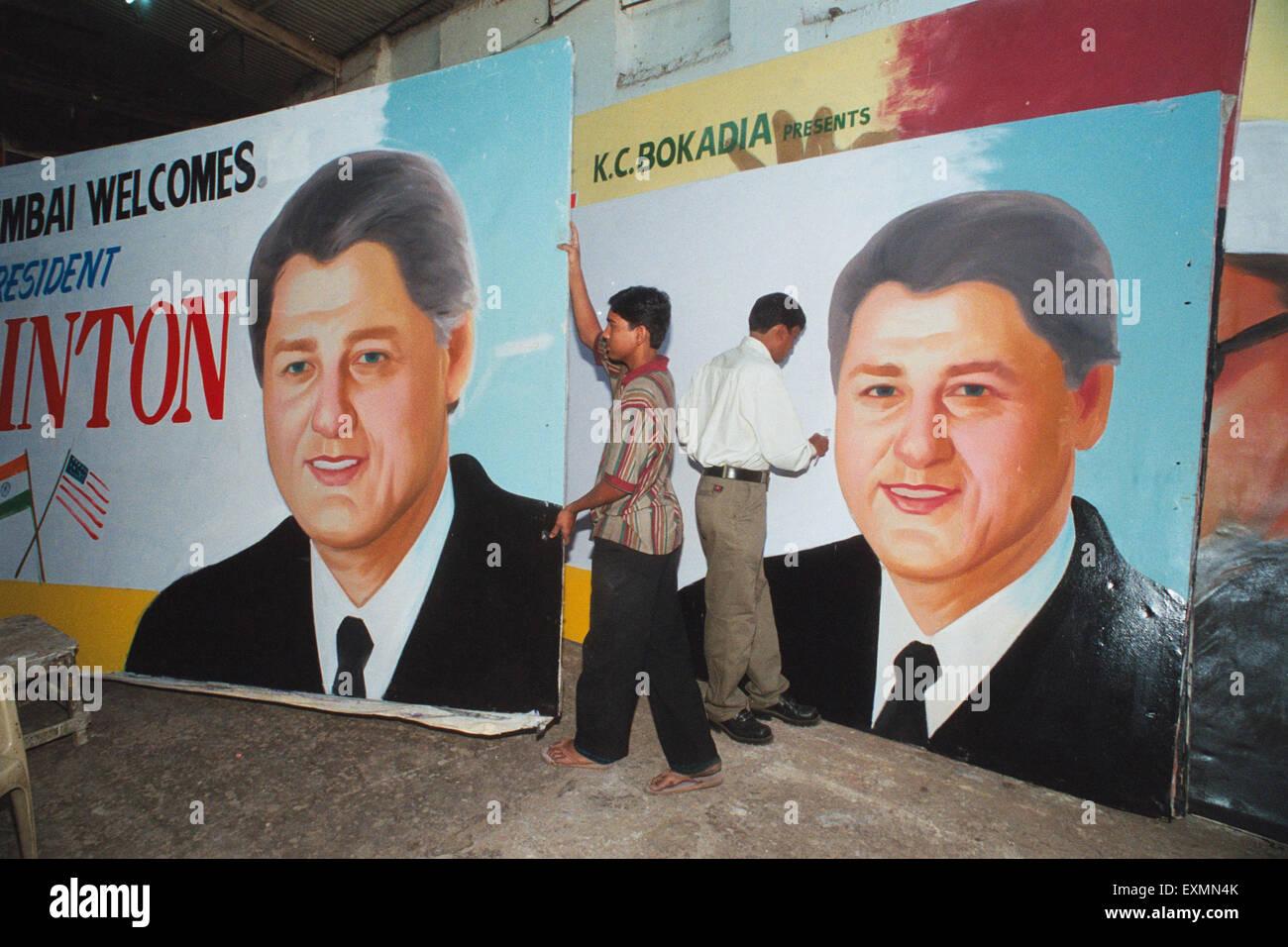 Bill Clinton Plakate Mumbai Indien Stockbild