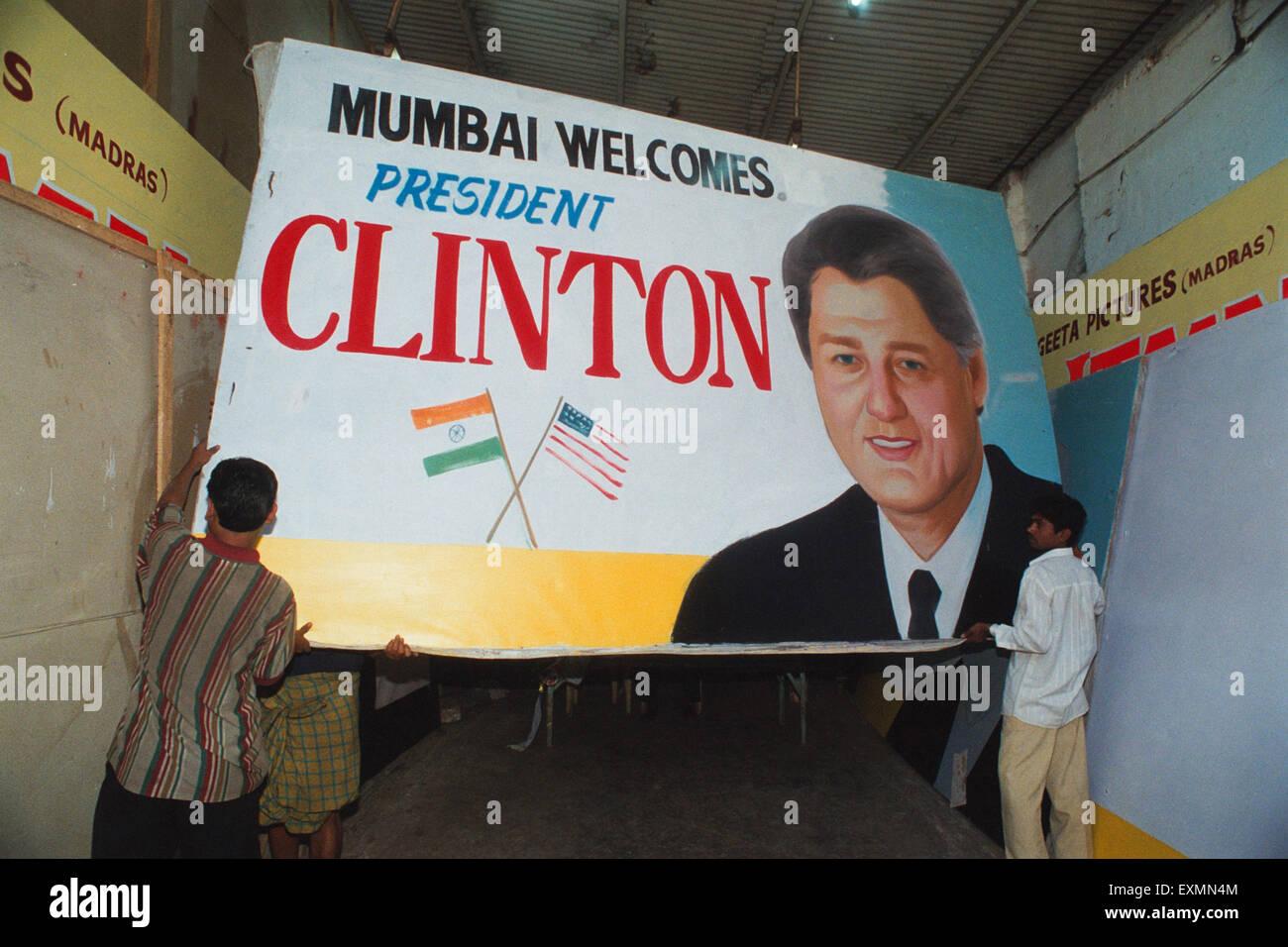 Bill Clinton Plakat Mumbai Indien Stockbild