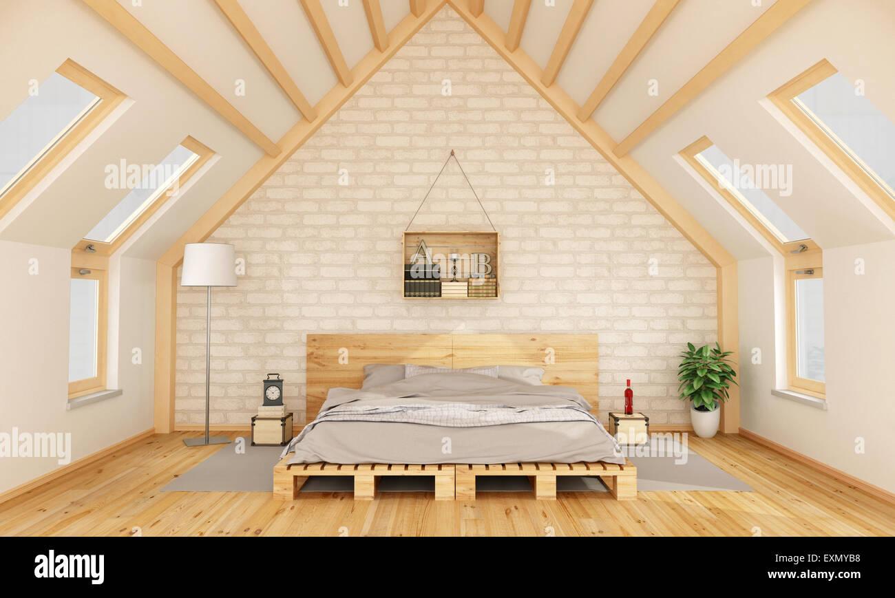 schlafzimmer im dachgeschoss mit palette bett und holzkiste auf brick wand 3d rendering. Black Bedroom Furniture Sets. Home Design Ideas