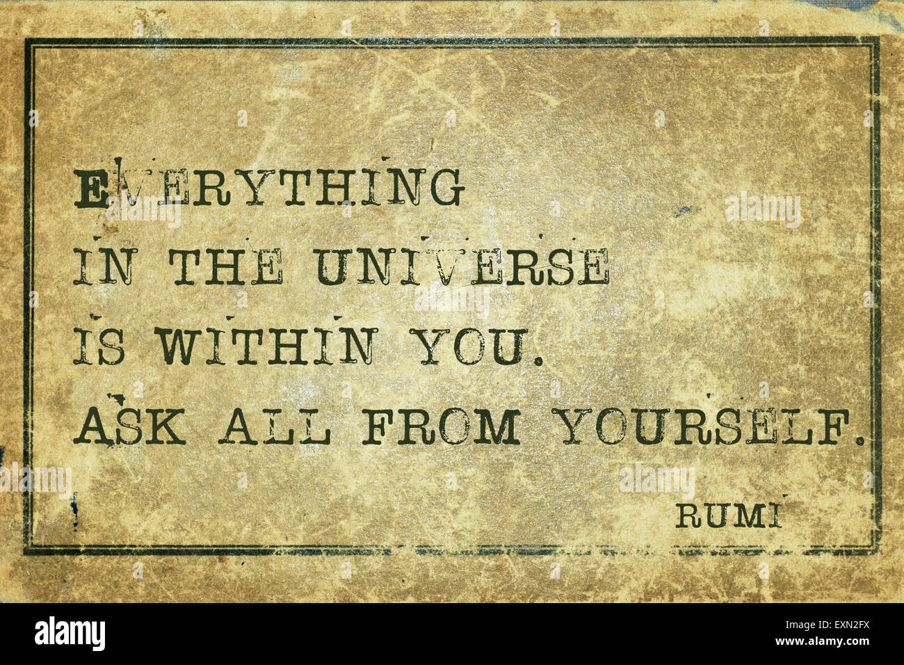 Alles Im Universum Ist In Dir Alte Persische Dichter Und Philosoph Rumi Zitat Auf Grunge Vintage