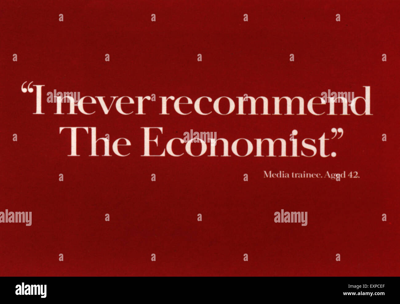 1990er Jahre UK Economist-Poster Stockbild