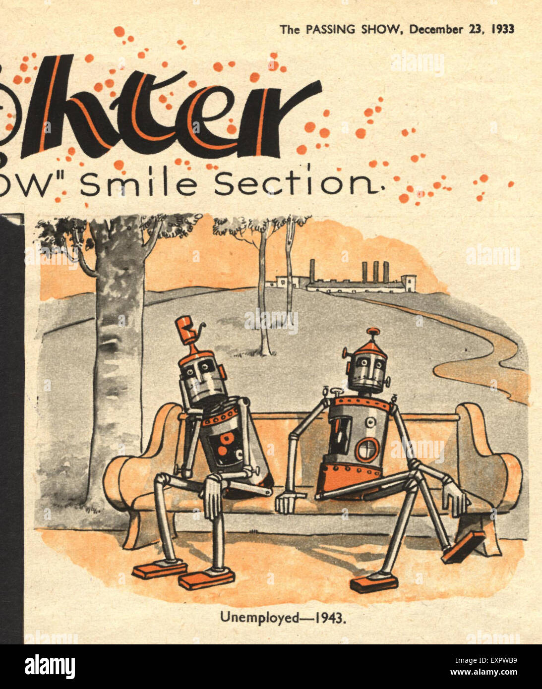 1930er Jahre UK Roboter Cartoons Comic / Cartoon-Platte Stockbild