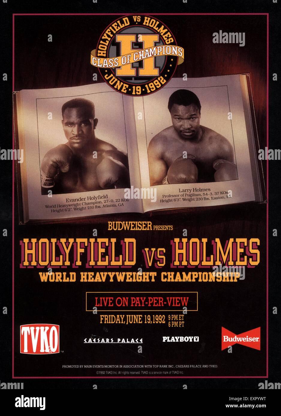 1990er Jahren USA Boxing Poster Stockbild