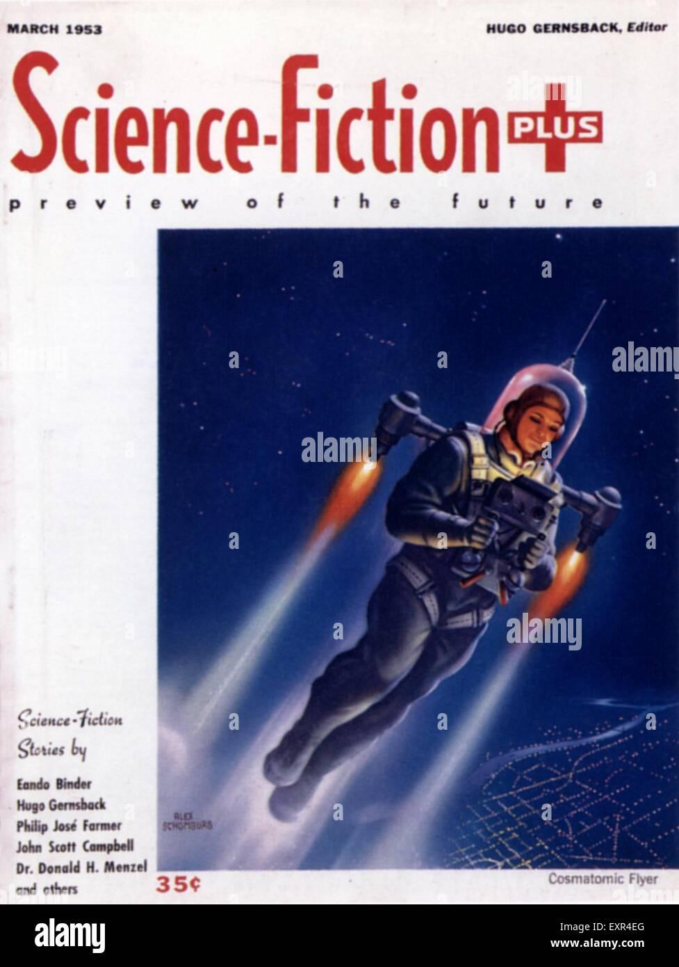 1950er Jahren USA Science-Fiction Plus Magazin-Cover Stockbild