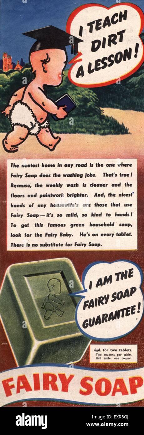 1950er Jahre UK Fee Magazin Anzeige Stockbild