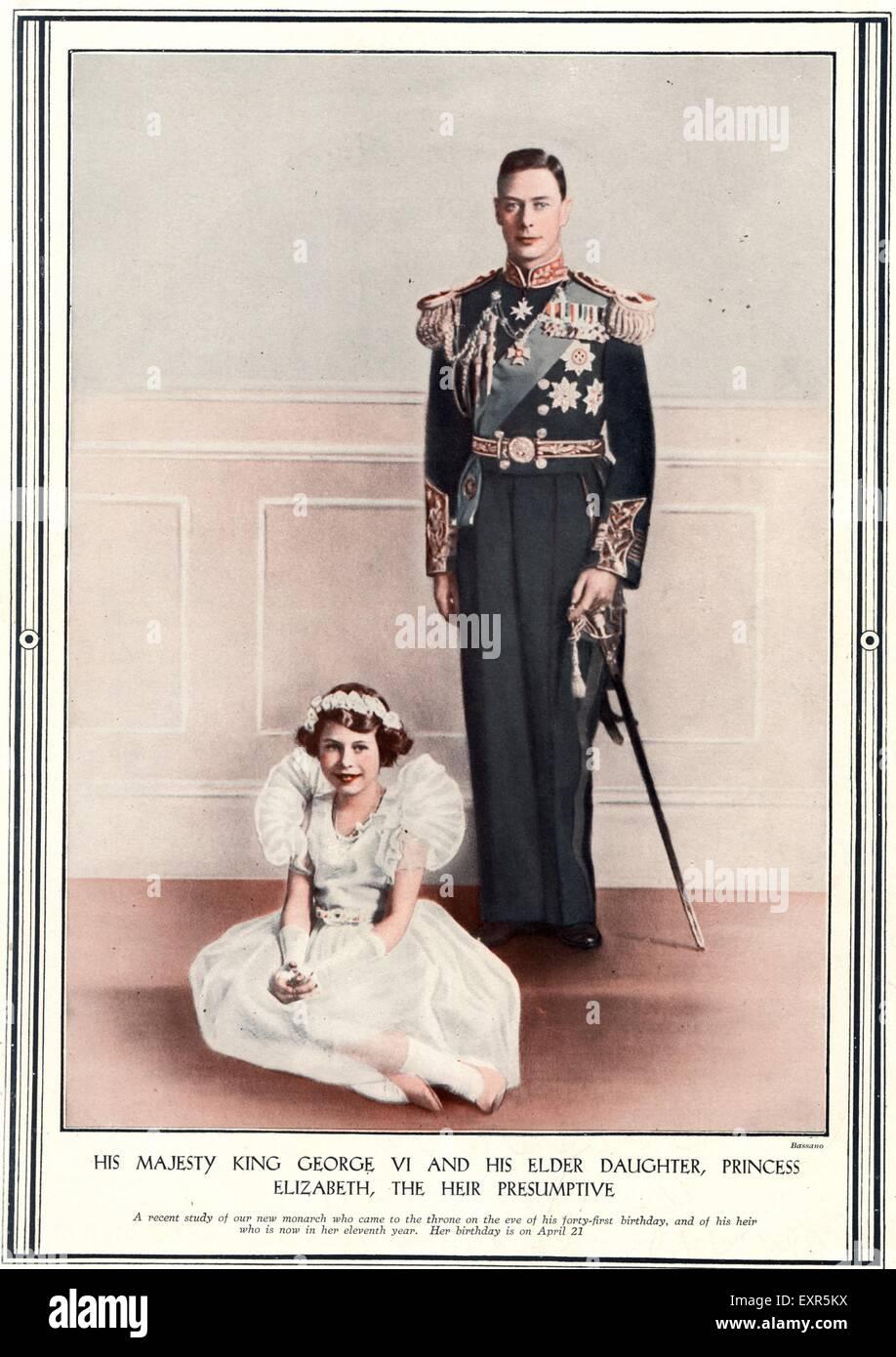 1930er Jahre britische König Georg VI. und Prinzessin Elizabeth Magazin Platte Stockbild