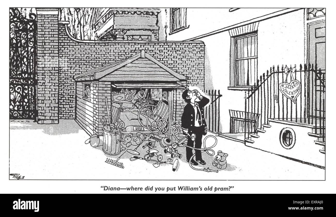 1980er Jahre britische Prinzessin Diana Jokes Comic / Cartoon-Platte Stockbild