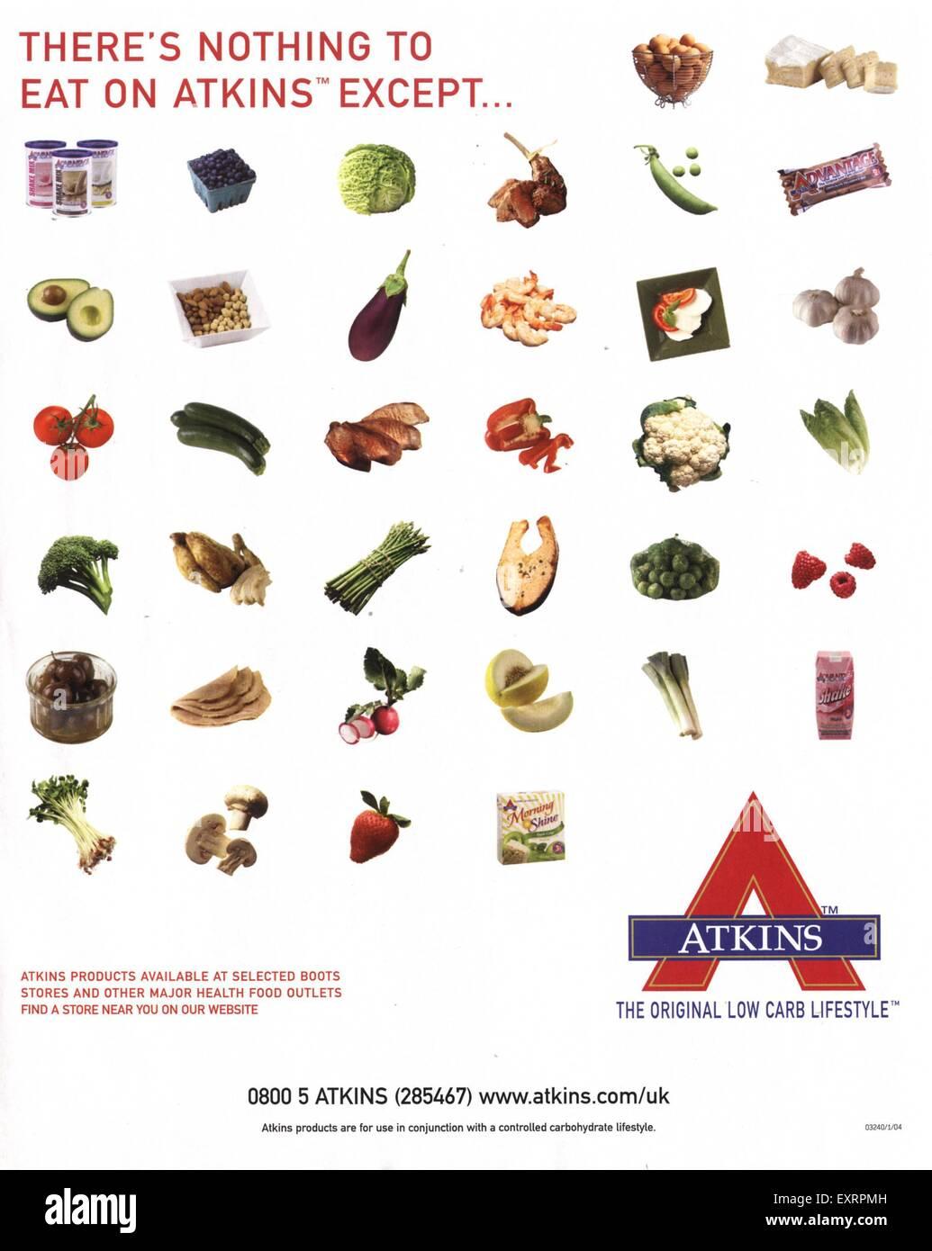 2000er Jahre Uk Die Atkins Diat Magazin Werbung Stockfoto Bild