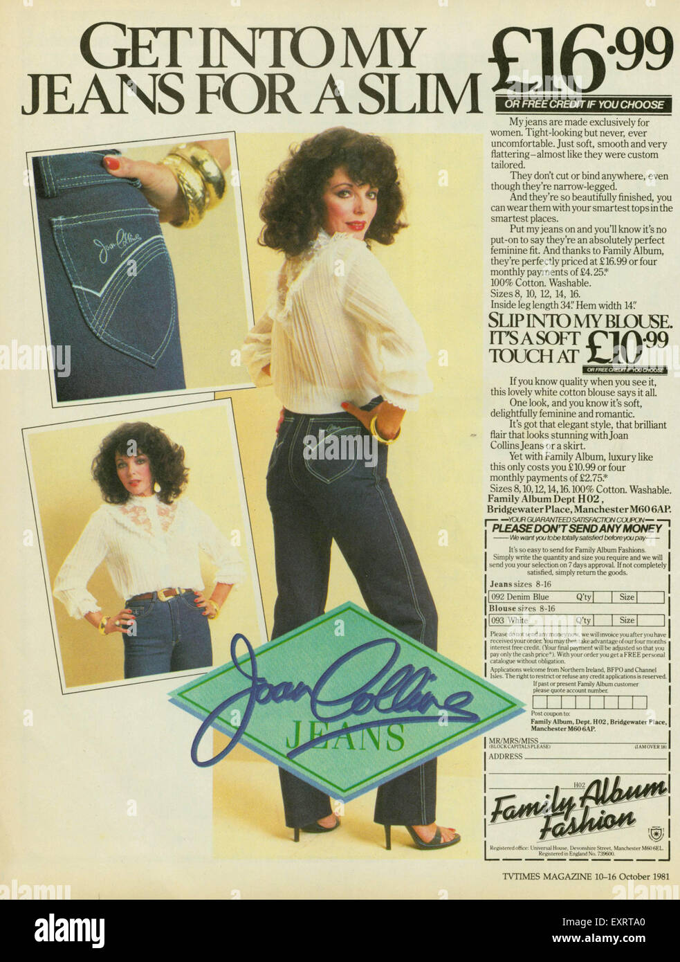 1980er Jahre UK Joan Collins Jeans Magazin Anzeige Stockbild