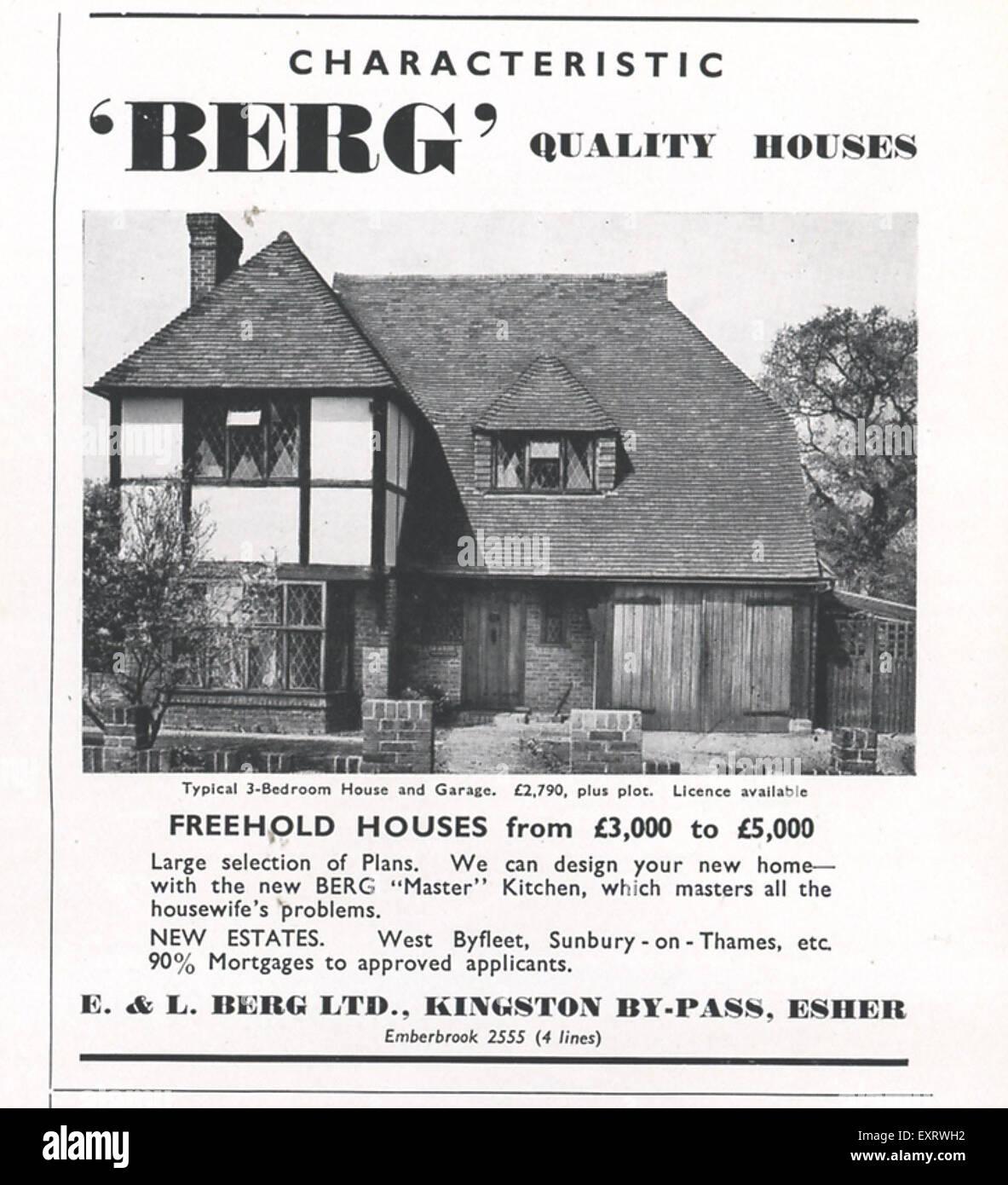 1950er Jahre UK Berg Magazin Anzeige Stockbild