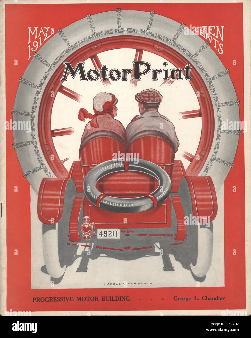 1910er Jahre USA Motor Print Magazin-Cover Stockbild