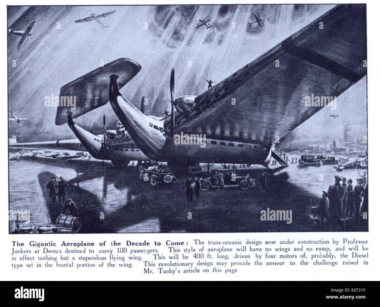 1920er Jahre UK riesige Flugzeuge der Zeitschrift Platte kommenden Jahrzehnt Stockbild