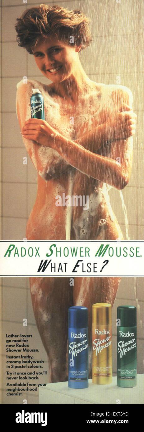 1980er Jahre UK Radox Magazin Anzeige Stockbild