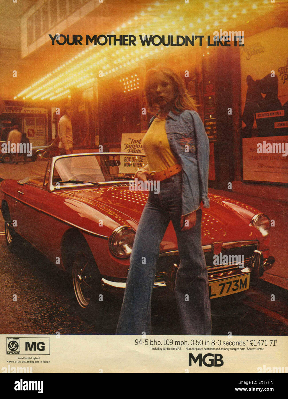1970er Jahre UK MGB GT Magazin Anzeige Stockbild