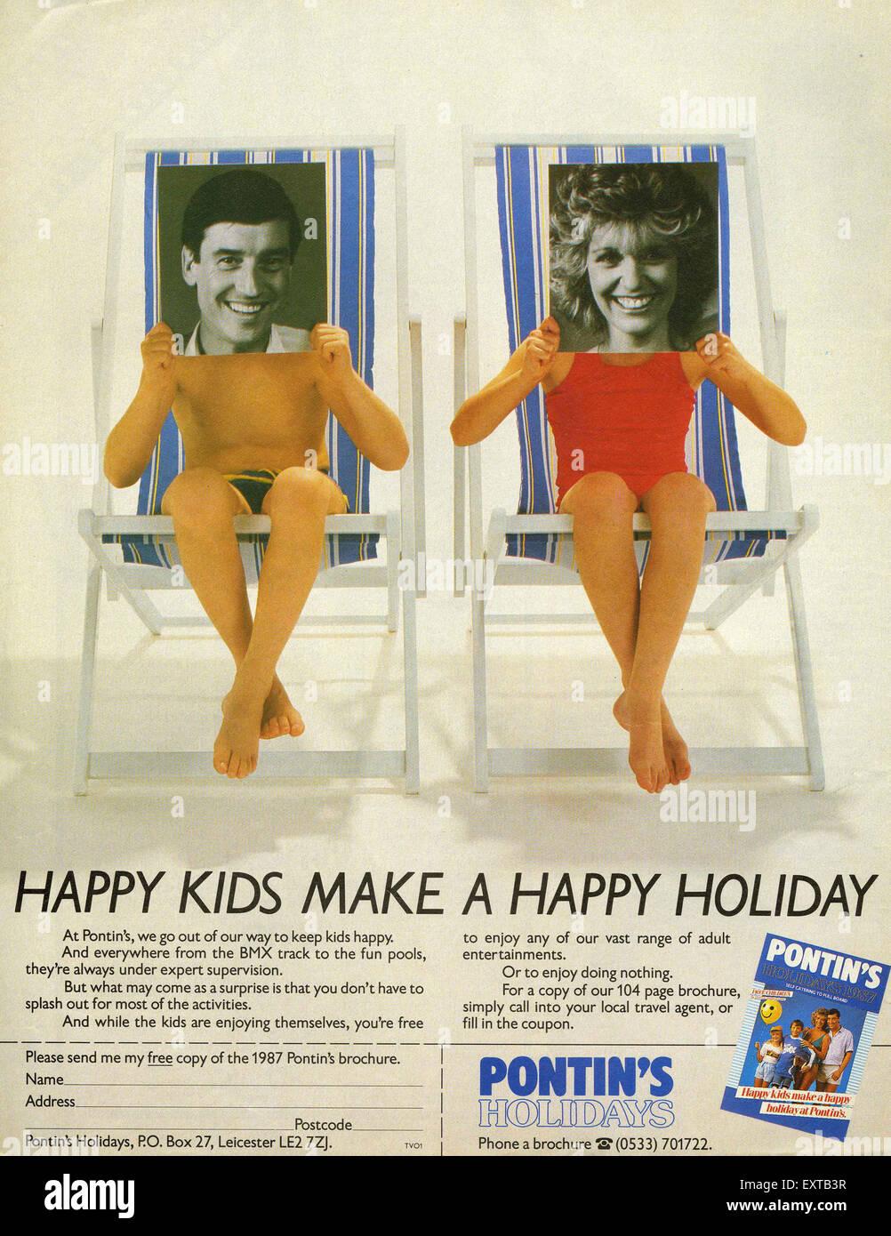 1980er Jahre UK Pontin Magazin Anzeige Stockbild