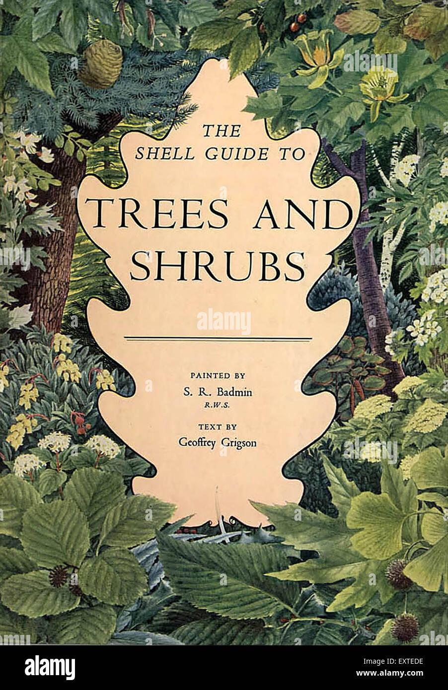 1950er Jahre UK Shell Leitfaden für Bäume und Sträucher Buchcover Stockbild
