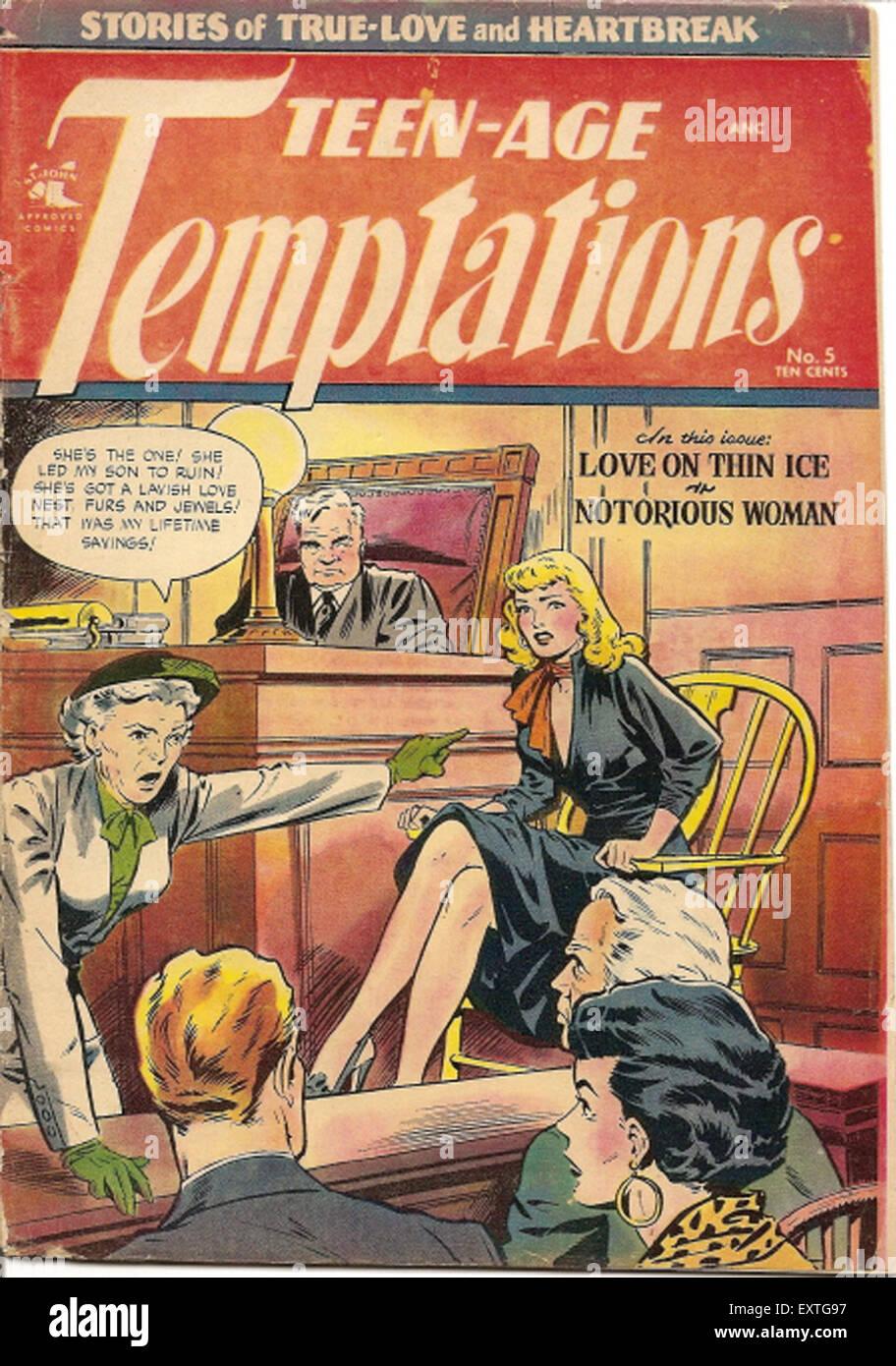 1950er Jahren USA Teen-Age Versuchungen Comic / jährliche Abdeckung Stockbild