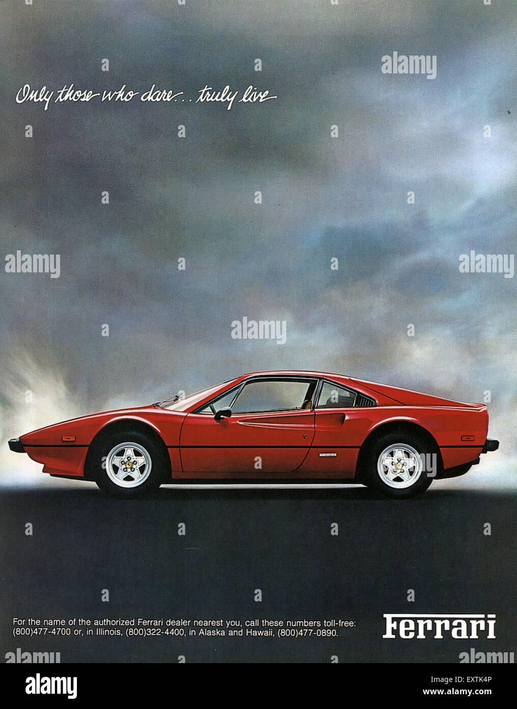 1980er Jahre Usa Ferrari Magazin Anzeige Stockfotografie Alamy