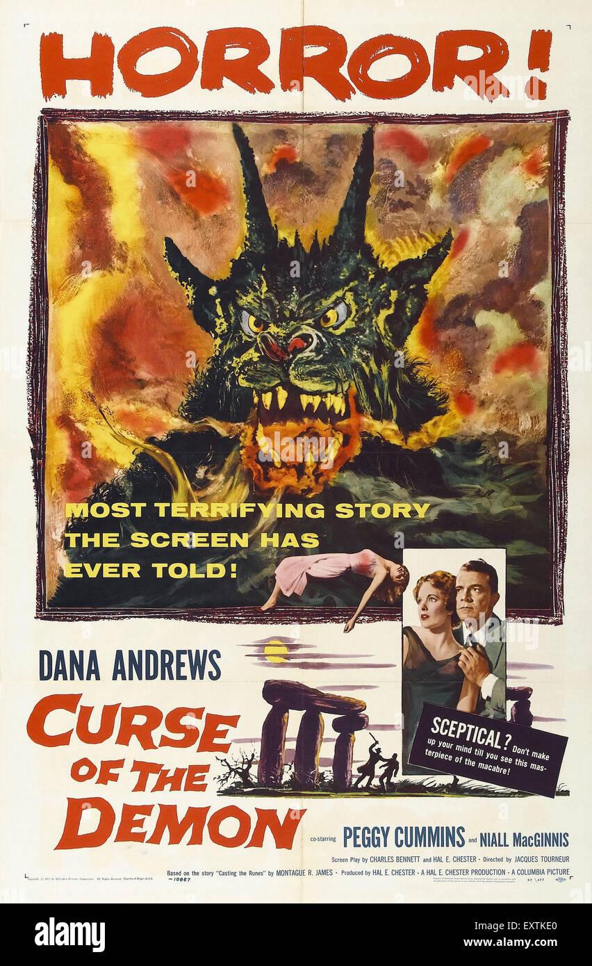1950er Jahren USA Fluch von dem Dämon Filmplakat Stockbild