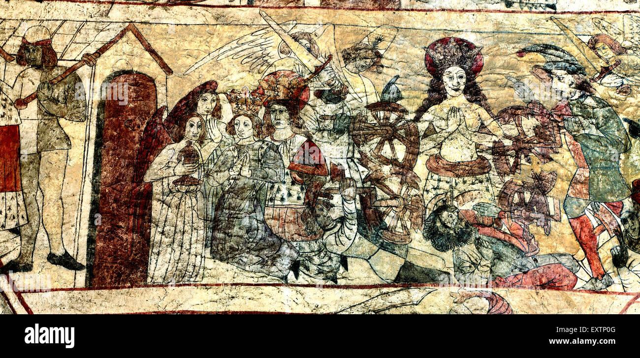 Folter von St. Katharina auf dem Rad, mittelalterlicher Wandmalerei, Pickering, Yorkshire England UK Saint Gemälde Stockbild