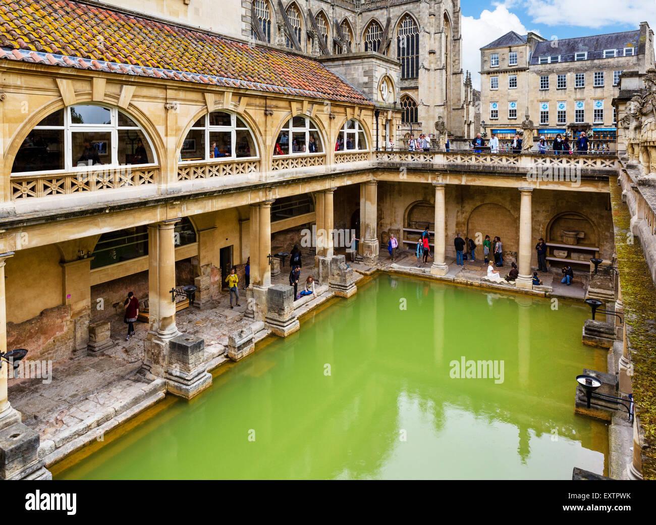 Das große Bad an die römischen Bäder in Bath, Somerset, England, Großbritannien Stockbild