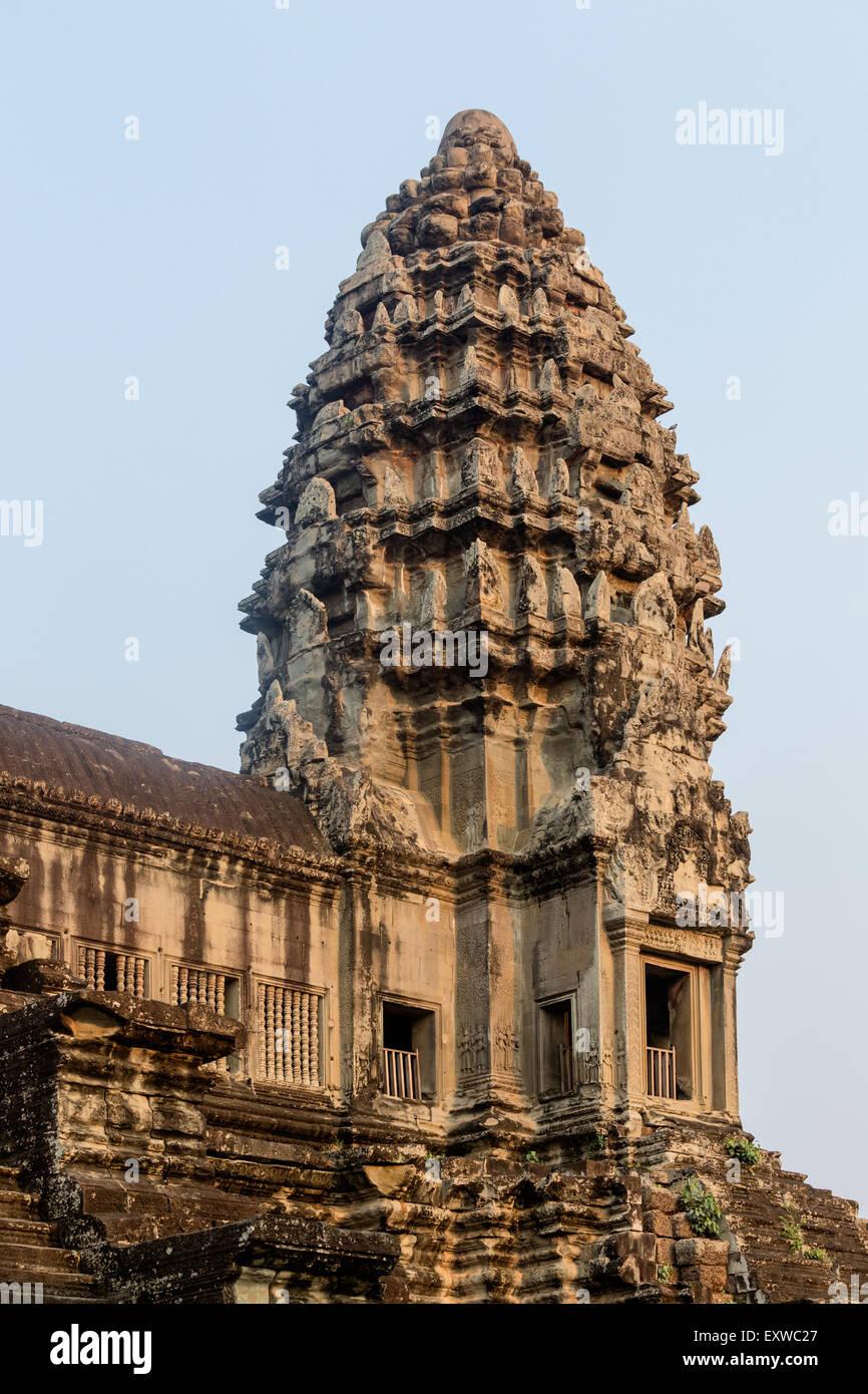 Ecke Prasat von der zweiten Ringmauer, Angkor Wat Tempel, Provinz Siem Reap, Kambodscha Stockbild