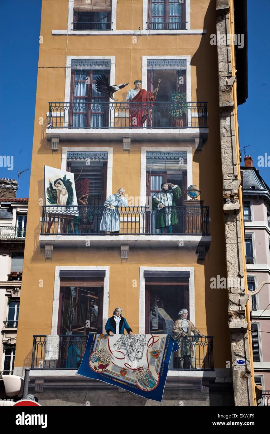 Wandmalerei von Prominenten von Lyon, Rhone-Alpes, Frankreich Stockbild