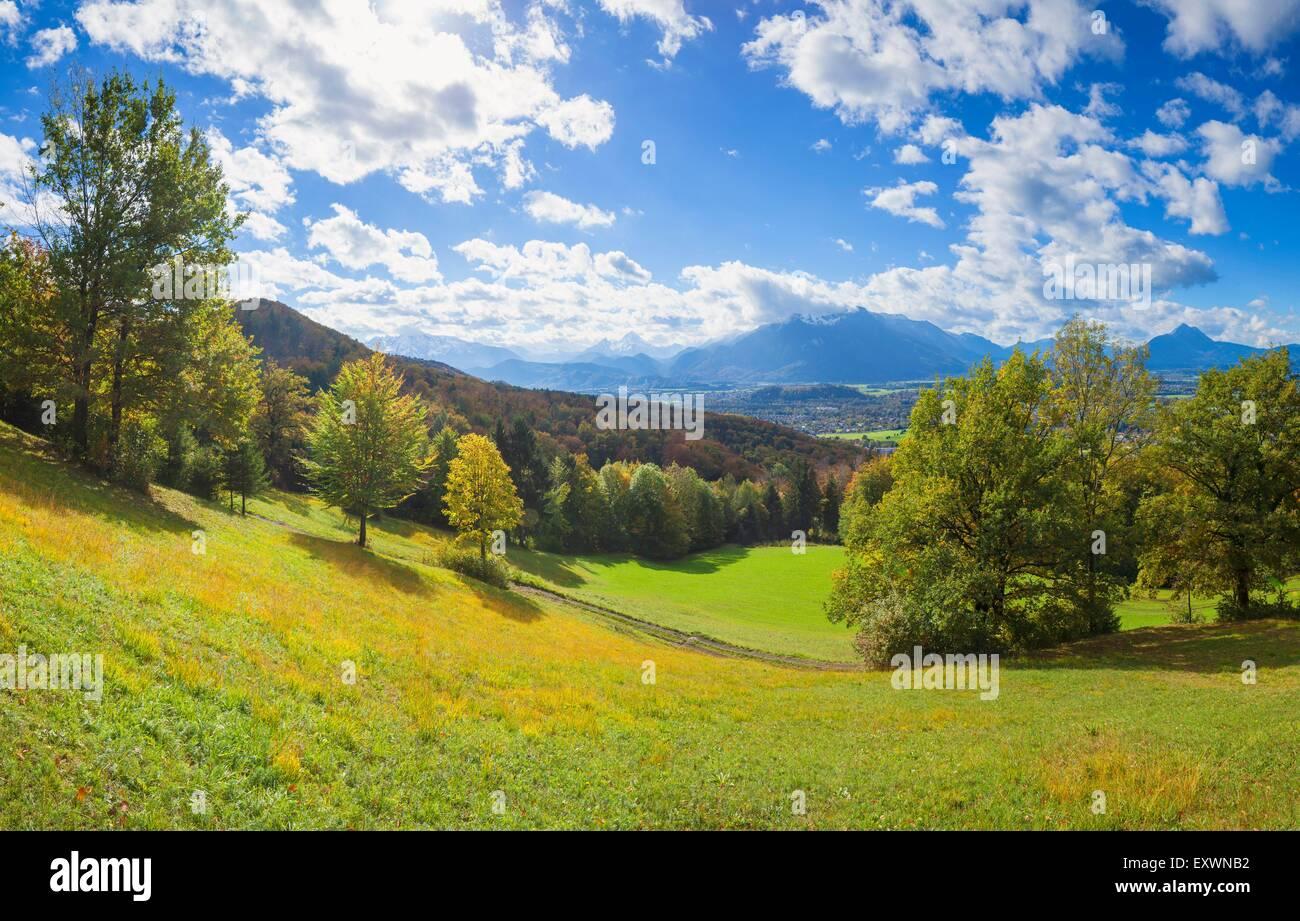 Blick vom Gaisberg auf Watzmann und steinernen Meer, Salzachtal, Salzburger Land, Österreich, Europa Stockbild