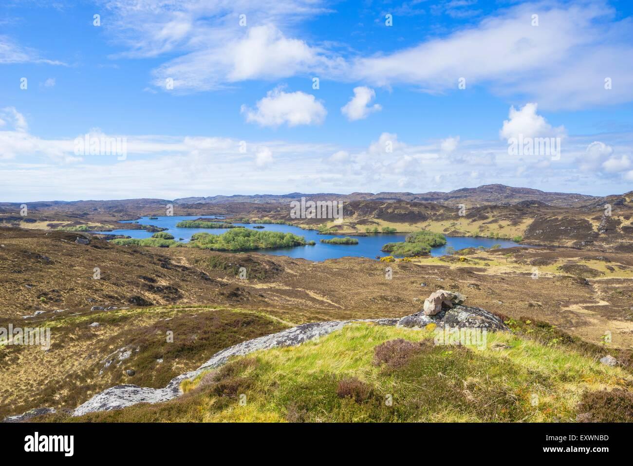 Loch ein t-Sabhail Schaltung und Loch Beannach, Schottland, Großbritannien, Europa Stockbild