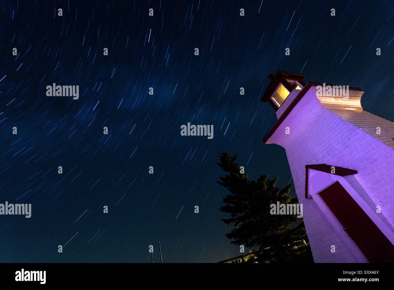 Anderson Hollow Leuchtturm und Himmel geschossen mit langer Belichtungszeit Stockbild