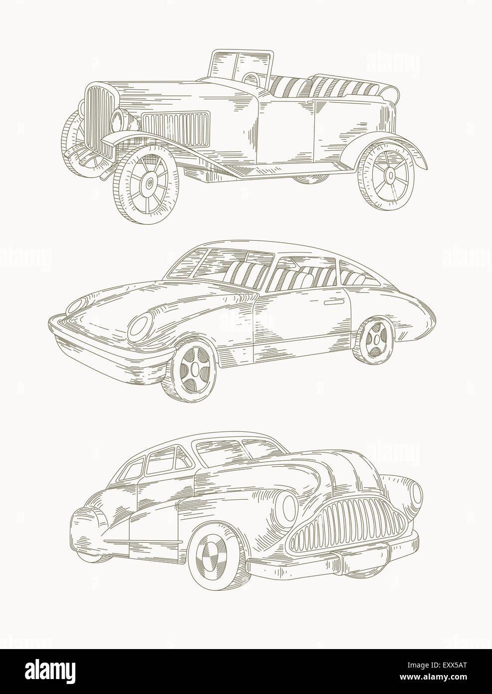 Autos - Strichzeichnung Stockfoto, Bild: 85397504 - Alamy