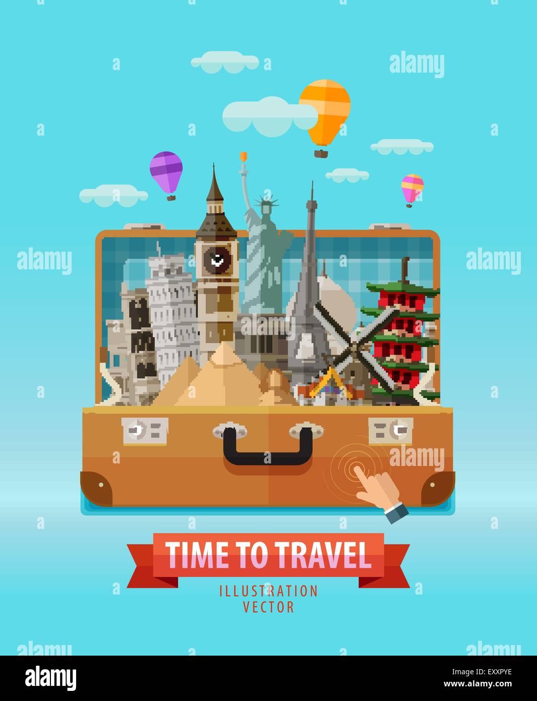 Urlaub-Vektor-Logo-Design-Vorlage. Reisen, Reise, Reise oder Tour ...
