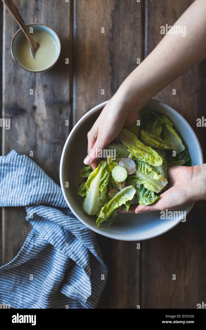 Zutaten für Wasabi Caesar Salad (ohne Gluten). Stockbild