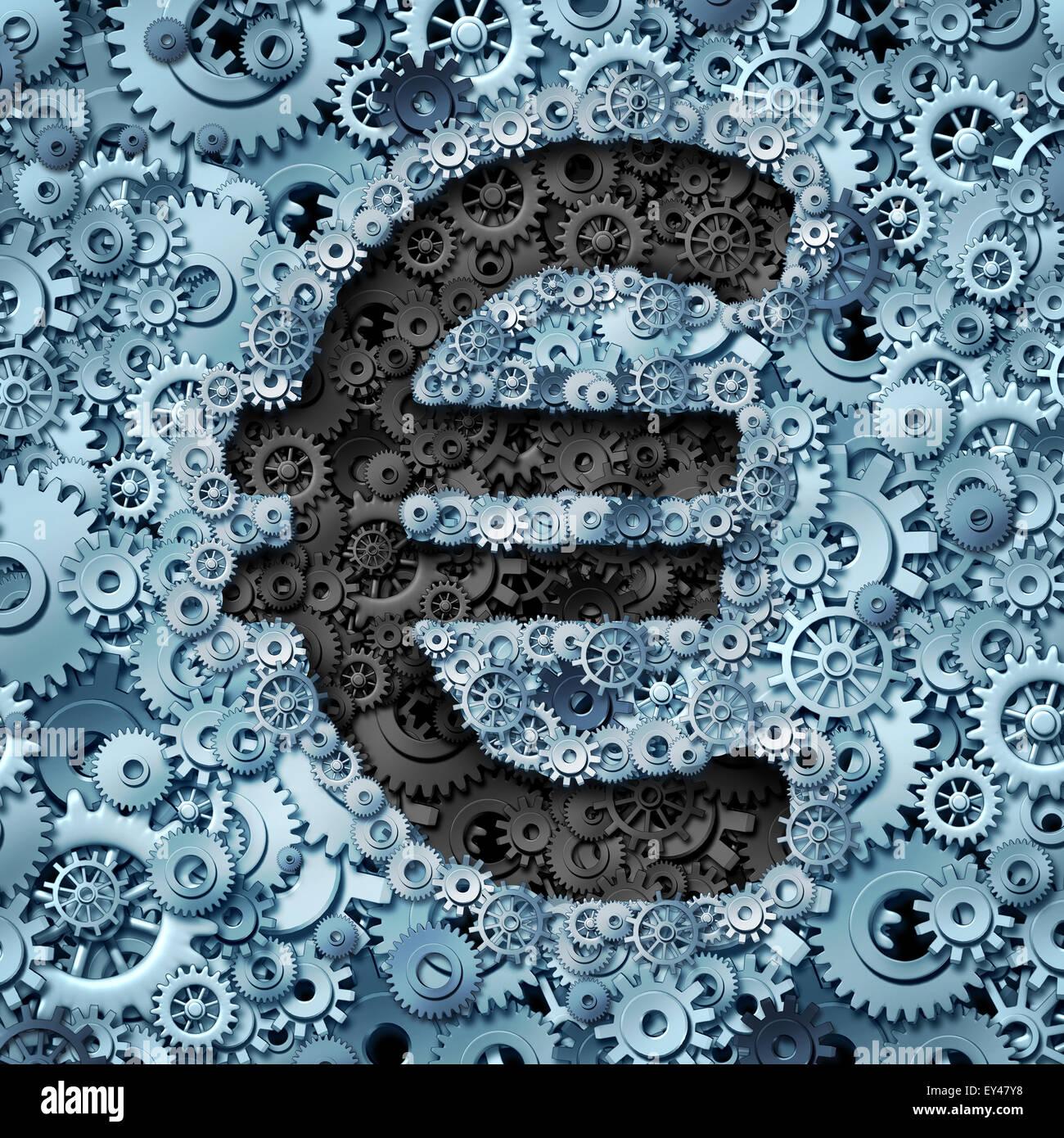 Euro banking Industrie Währung Maschine als ein finanzielles Konzept mit dem Geld-Symbol aus der Partnerschaft Stockbild