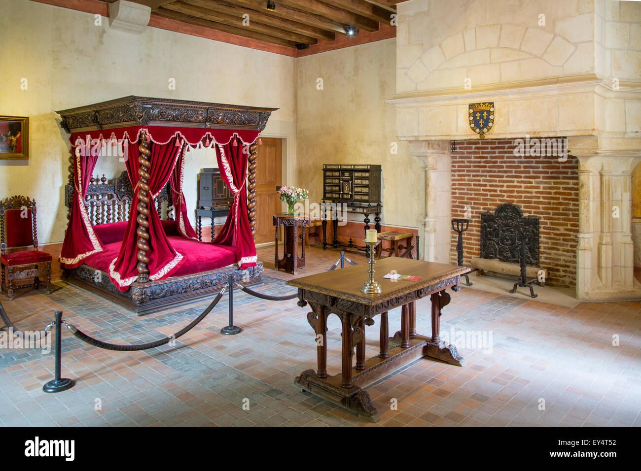 Schlafzimmer von Leonardo da Vinci an seinem Haus-chateau ...