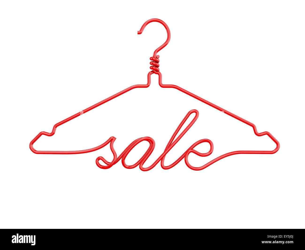 Roter Draht Kleiderbügel mit Botschaft - Verkauf. 3D render ...